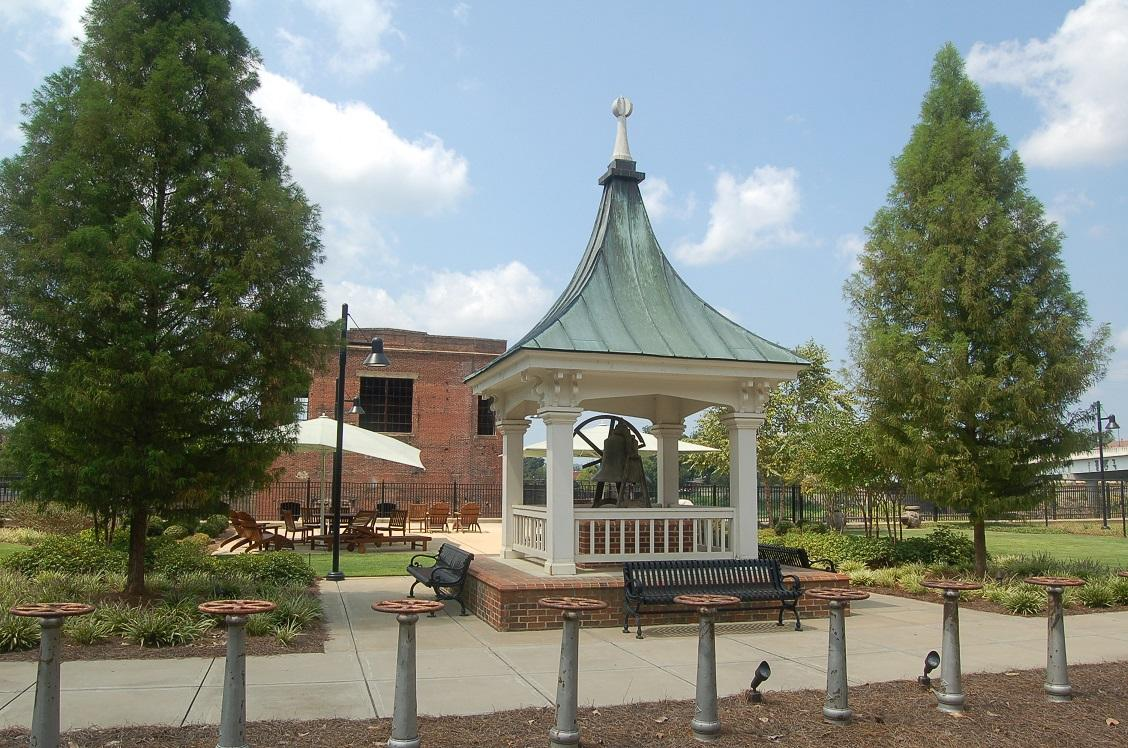 The Cupola from Mill 2 was preserved and place in the Greenspace as a garden feature.