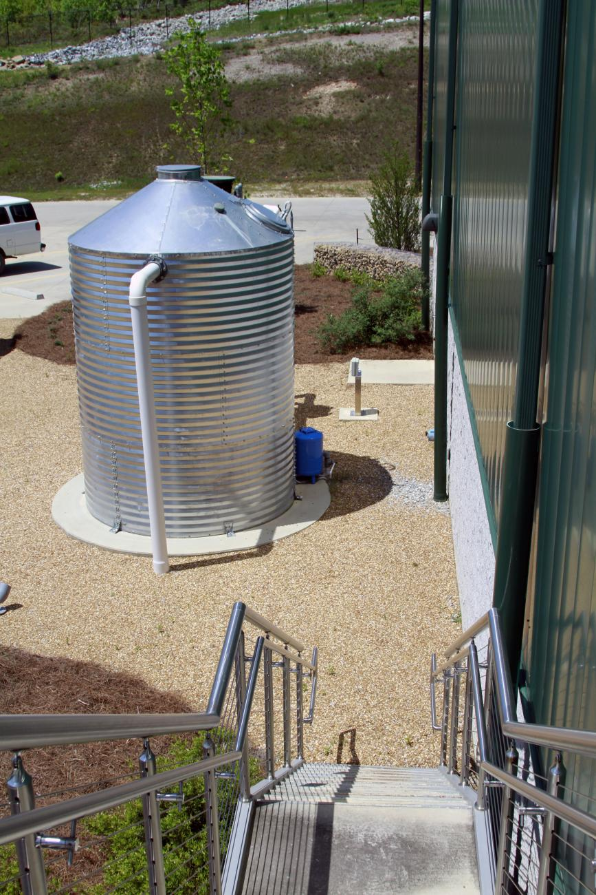 Above Ground Cistern captures rainwater from roof and is used to irrigate the landscape.